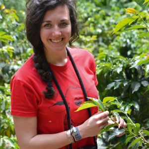 Alice dans les caféiers à Coroïco en Bolivie