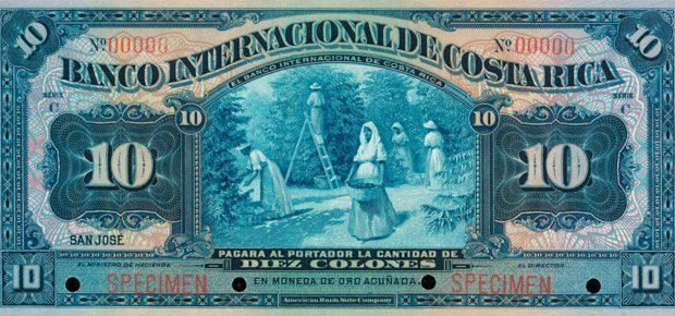 Splendide billet de 10 colons avec une scène de cueillette de cerises de café