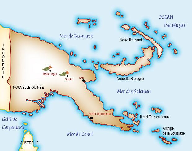 Carte de Papouasie Nouvelle-Guinée