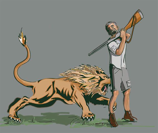 Reconstitution de l'attaque du lion