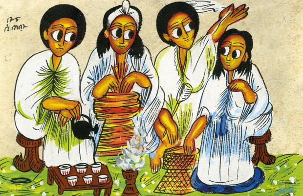 Cérémonie du café traditionnelle - Peinture sur peau de chèvre