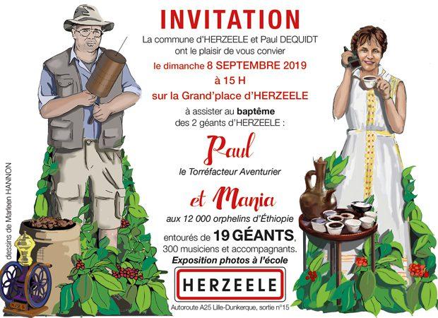 Invitation baptême géants Herzeele Paul et Mania Dequidt