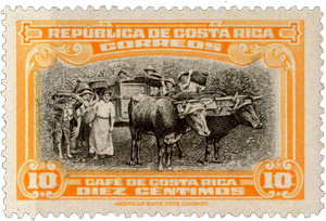 Timbre de collection du Costa Rica10 Correos