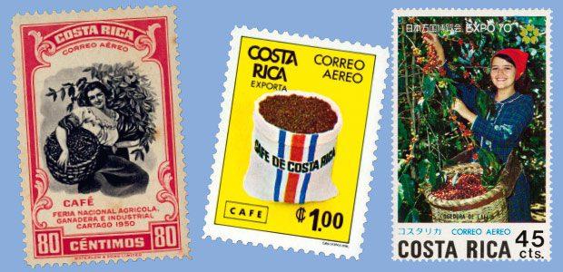 Quelques timbres sur le thème du café au Costa Rica